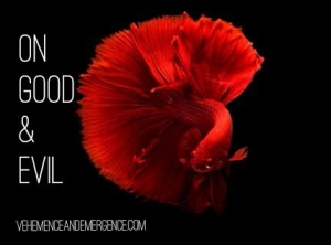 good, evil, morals, forgiveness, empathy, ambiguity, red beta fish, Kahlil Gibran, poetry, poetic therapy, morality, ethics,