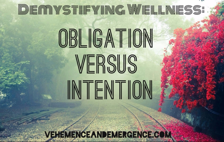 obligation, intention, mist, train tracks, misty woods, forest, wellness, health