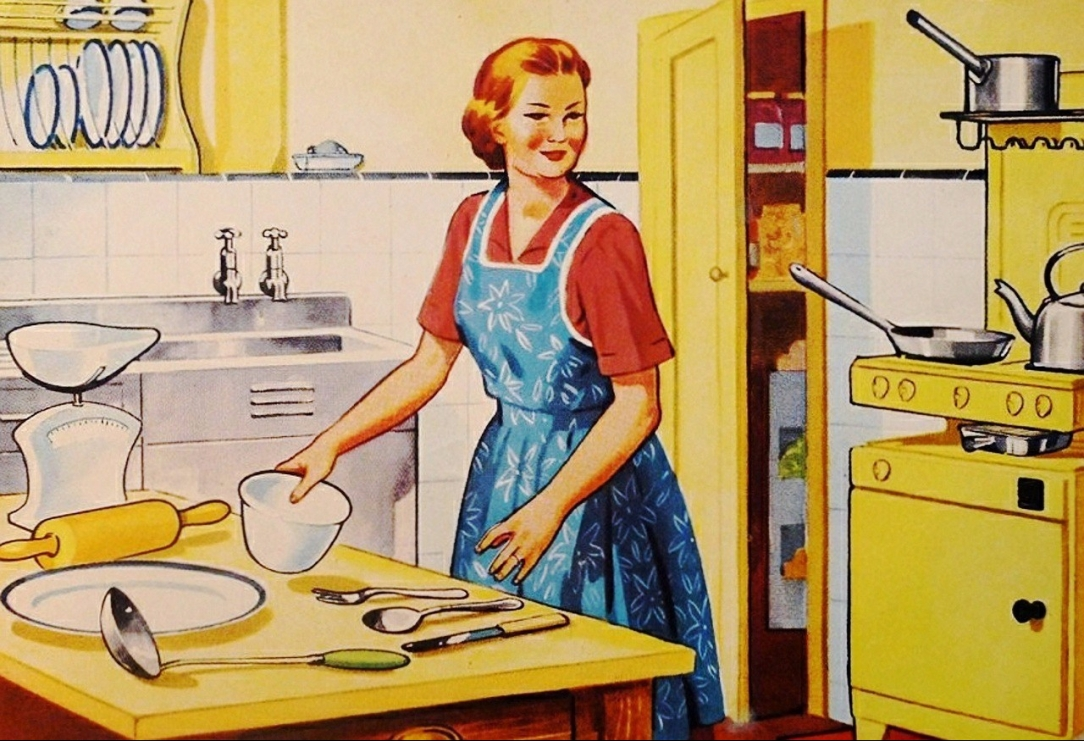 retro art, retro, housewife, art, kitchen, productive, cycle, avoidance, procrastination, habits, cooking, baking